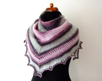 grey pink shawl, handknit triangle scarf