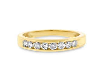 0.40 Ct. Genuine Diamond Channel Set Wedding Band In Solid 14k Yellow Gold