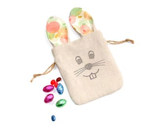 Easter bag with ears, candy bag, linen fabric gift bag, bunny bag, long ear bunny birthday party favor bag, drawstring pouch,