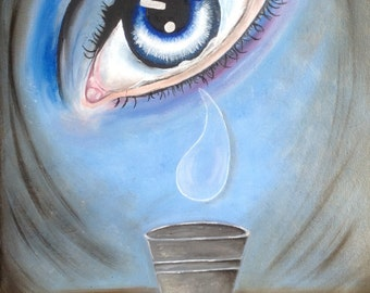 An original surreal oil paintings of eye crying into bucket.