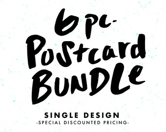 Set of PostCards, 6 Piece Bundle, Single Design, Card Pack