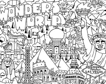 Wonders of the World COLORING PAGE