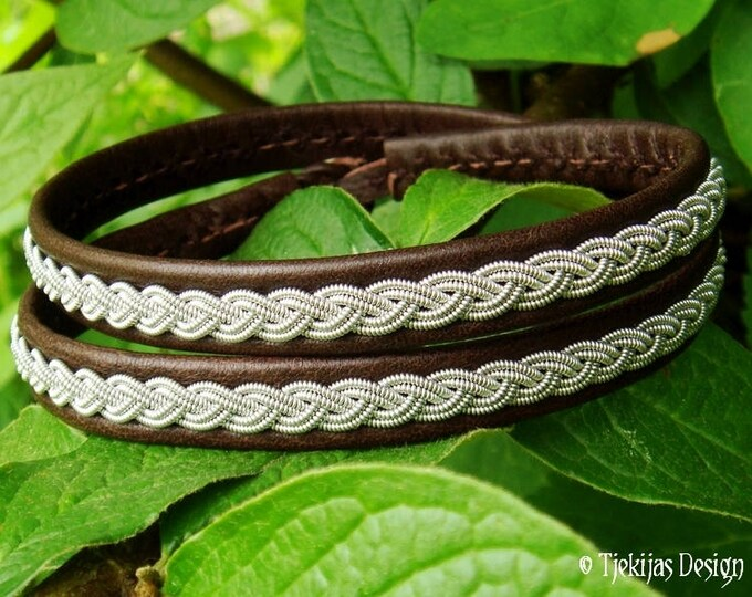 Sami Pagan Double Wrap Brown Leather Viking Bracelet for Men and Women LIDSKJALV decorated with Pewter Braid and Handmade to Your Wishes