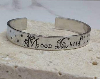 Moon child pretty floral font boho hippy stars 12mm cuff bracelet, handstamped