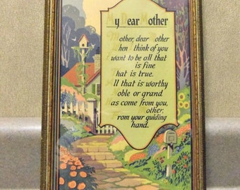 My Dear Mother Poem Framed, 1920s Print M & B NY. Made in USA Mother's Day, Gift for Her