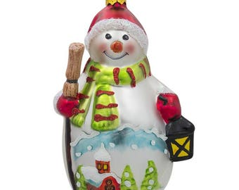 """4.75"""" Snowman with Broom and Lantern Glass Christmas Ornament"""