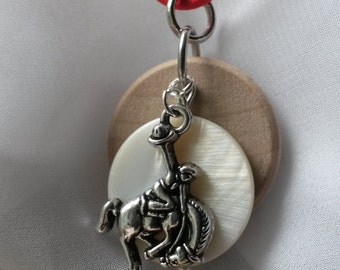 Bucking bronco, mens diffuser necklace, teen diffuser, essential oil, necklace for essential oil, horse, aromatherapy necklace,  EC440