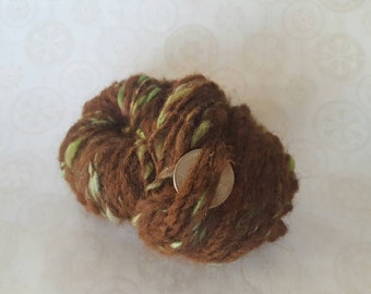 "Handspun Art Yarn ""Forest Floor"" Alpaca / Wool"