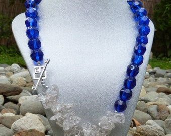Cobalt Blue & Ice Flake Quartz Statement Necklace