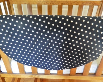Round Play Mat Navy with White  Dots, Tummy Time Mat,