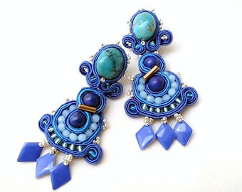 turquoise long soutache long studs earrings , April birthday gift ideal  , dangle drop long lapis lazuli & turquoise gemstones jewelry