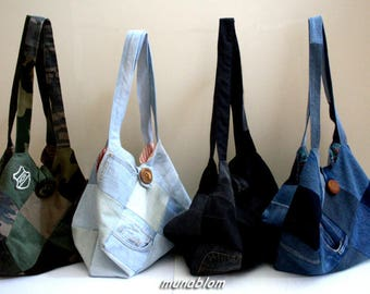 SONNY 01: Bag in clear jeans patchwork.