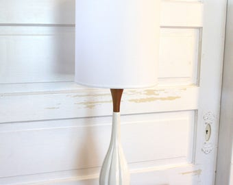 SOLD - MCM Teak Table Lamp with White Ceramic Neck with Brand New Custom White Linen Shade