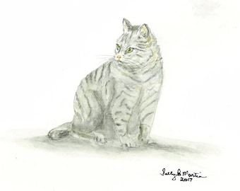 GRAY TABBY CAT Print of an original watercolor painting.  5 X 7 inches