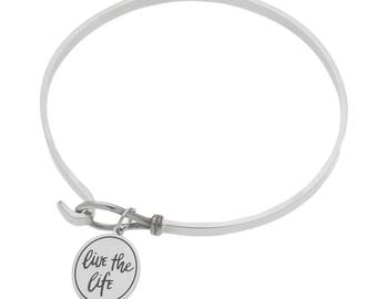 """High Polished Stainless Steel """"Live The Life You've Always Imagined"""" Inspirational Bracelet"""