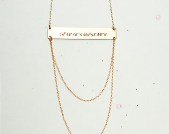 Layered Long Bar Necklace