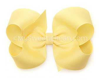 Pale Yellow Boutique Bow, 4 inch Hair Bow, Wheat Bow, Basic Bow, Baby Toddler Girl, Butter Yellow