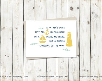A Father's Love - A Guiding Light, Nautical Theme - Father's Day - Greeting Card with envelope