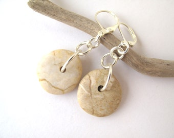 Beach Stone Earrings Mediterranean Natural Stone Jewellery Pebble River Stone Earrings Rustic Jewellery Silver Creme MISHKA