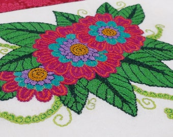 Embroidered Botanical Flower