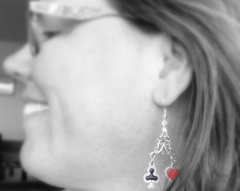 Card Shark Earrings, Four Suites Good Luck Earrings, Games Spades Diamonds Clubs Hearts Poker Flush Pair Pinochle