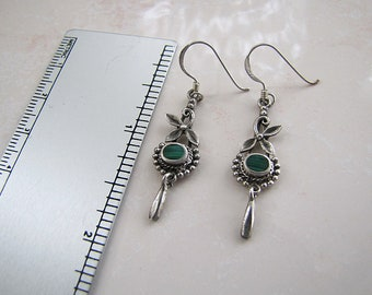 Sterling silver Malachite ornate leaf Earrings
