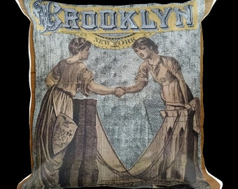Brooklyn Decorative Pillow-Brooklyn Bridge,BK, Bridge,Victorian,New York,Throw Pillow,Pillow
