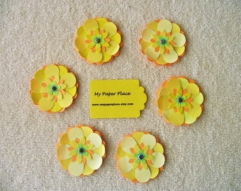 6 -Shades of Yellow-  2 INCH PAPER FLOWERS - Free Secondary Shipping