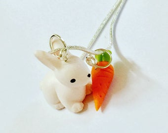 Rabbit Necklace - Bunny Necklace - Woodland creatures - Easter necklace - Easter Pendant - Carrot