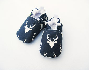 Classic Vegan Buck in dark blue / All Fabric Soft Sole Baby Shoes / Made to Order / Babies