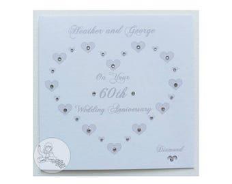 Handmade Personalised 60th Wedding Anniversary Card Diamond Marriage Gift Heart
