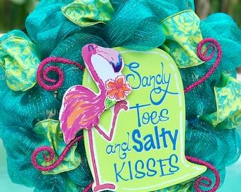 Sandy Toes & Salty Kisses Flamingo Wreath