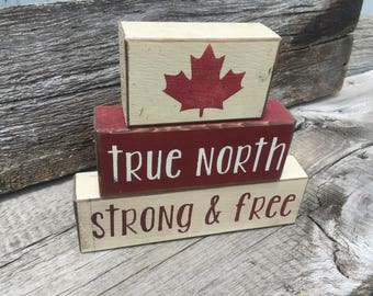 Canadiana - True North Strong and Free - block set - Canadian home decor