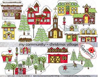 My Community Christmas Village Clipart: (300 dpi transparent png) School Teacher Clip Art Creative Writing Santa House Workshop Gingerbread