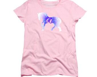 Stylized Horse Art T-shirt, Pink Blue, Women's Feminine Clothing, Digital Stylized Totem Animal, Wearable Art, Equine Clothing