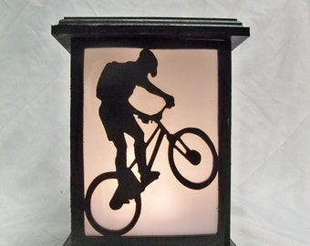 Mountain Biking wooden lantern