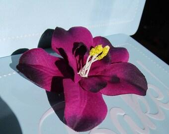 hair clip, purple orchid