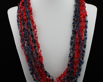 Ladder Yarn Crocheted  Necklace - Cleveland Indians - Trellis Yarn - Red and Blue with Sparkle