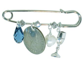 Denim Drop Crystal, Six Pence, Pearl, and Wine Glass Bridal Pin