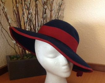 Betmar Navy And Burgundy Wool Hat Wide Brim Bowler