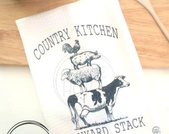 Barnyard Kitchen Towel,  Country Kitchen , Farmers market Kitchen Towel, Tea Towel, Waffle Towel, Farm Dish Towel, Rustic Decor Dish Towel