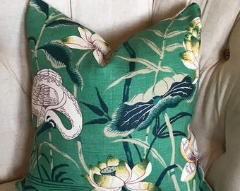 Lotus Garden Schumacher Pillow in Jade 18 inch, 20 inch, 22 inch, 24 inch Square Pillows, Designer Pillow, Green and Navy Chinoiserie Print