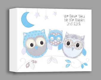 Baby Boy Canvas Nursery Art, Owl Decor, We Love You To the Moon And Back, Kids Wall Art, Baby Gift