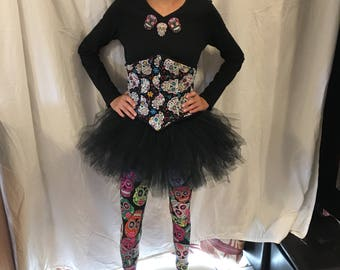 Day of the Dead costume-t-shirt, tutu, leggings and corset, earrings