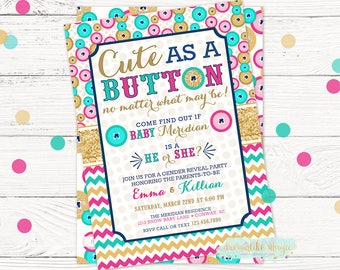 Cute as a Button Gender Reveal, Gender Reveal Party, Blue or Pink, Boy or Girl, Buttons, gender reveal invitation, Printable Invite, DIY