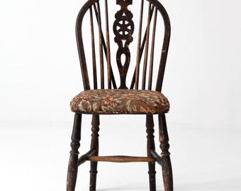 antique spindle chair with tapestry seat, black Windsor chair
