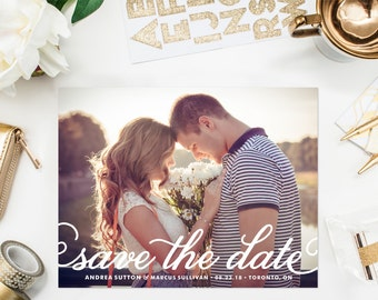 PRINTABLE Save the Date Postcard - Pretty Calligraphy Script Save the Date Postcard - White Photo Save the Date - Customizable Colors
