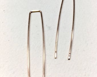Threader Earrings, Rose Gold bar threaders, rose gold jewelry