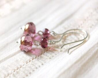 Elizabetha Earrings - Purple Faceted Glass Beaded Dangle Earrings, Handmade Sterling Silver Jewellery by Ikuri immortelle, FREE SHIPPING