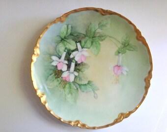 Haviland Limoges Dish, Signed Limoges 1894 -1931, Victorian Limoges Plate, Hand Painted Limoges, Artist Signed Limoges, Bleeding Hearts